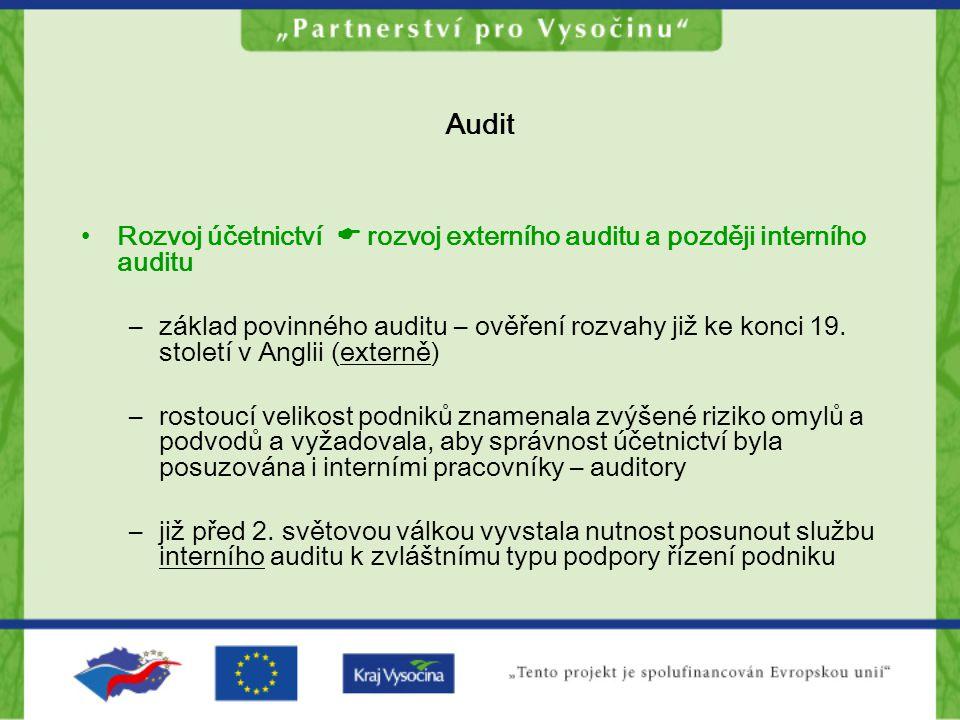 Audit Rozvoj účetnictví  rozvoj externího auditu a později interního auditu.