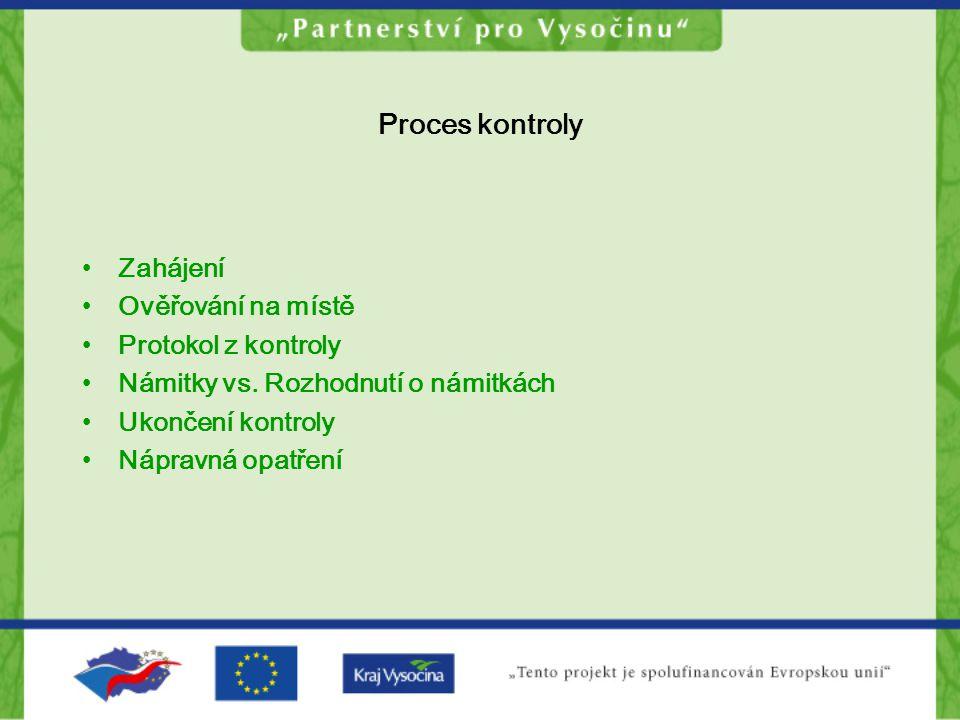 Proces kontroly Zahájení Ověřování na místě Protokol z kontroly