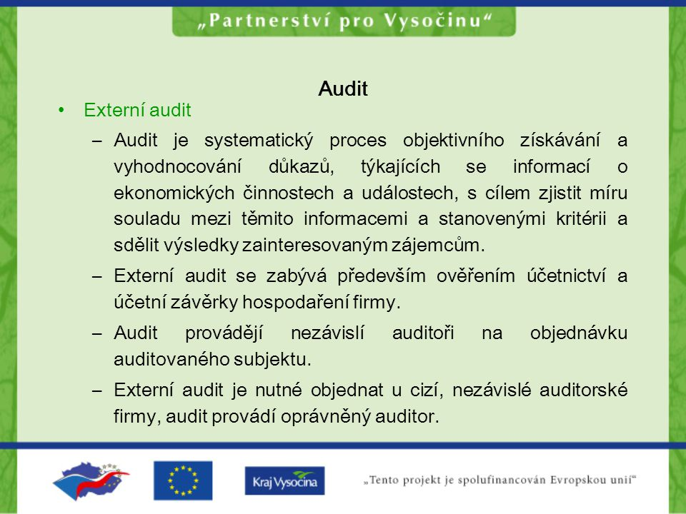 Audit Externí audit.