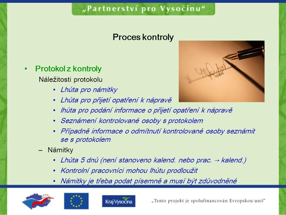Proces kontroly Protokol z kontroly Náležitosti protokolu
