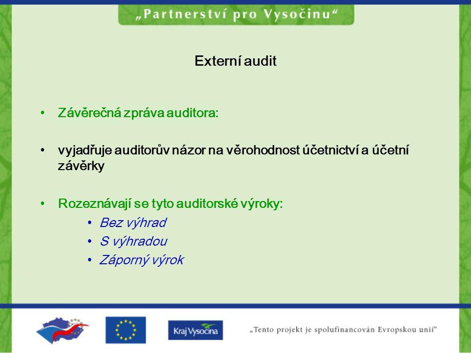 Externí audit Závěrečná zpráva auditora: