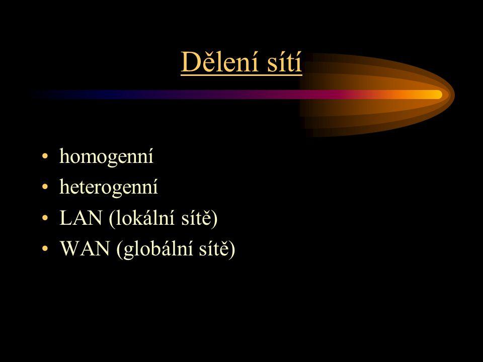 Dělení sítí homogenní heterogenní LAN (lokální sítě)