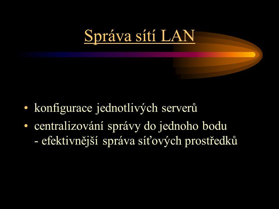 Správa sítí LAN konfigurace jednotlivých serverů