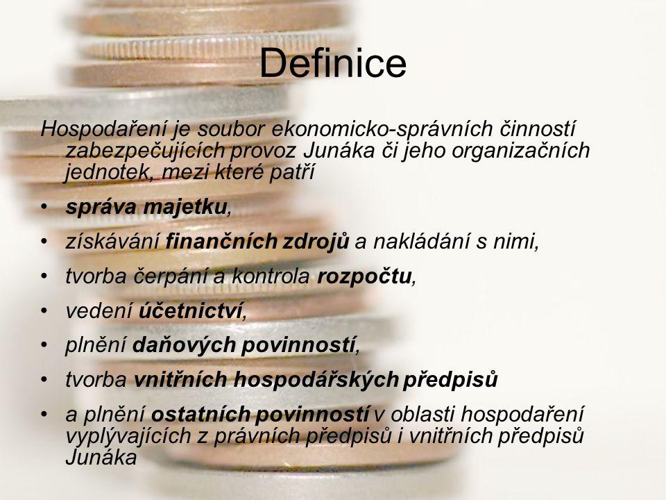 Definice Hospodaření je soubor ekonomicko-správních činností zabezpečujících provoz Junáka či jeho organizačních jednotek, mezi které patří.