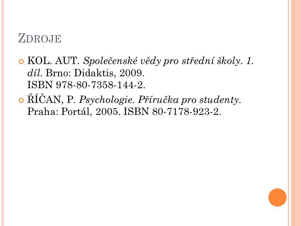 Zdroje KOL. AUT. Společenské vědy pro střední školy. 1. díl. Brno: Didaktis, 2009. ISBN 978-80-7358-144-2.