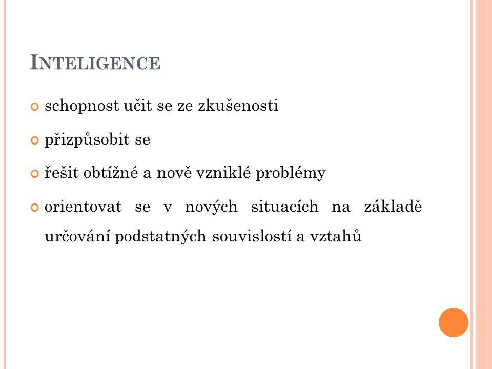 Inteligence schopnost učit se ze zkušenosti přizpůsobit se