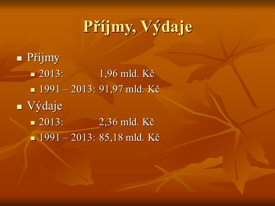 Příjmy, Výdaje Příjmy Výdaje 2013: 1,96 mld. Kč