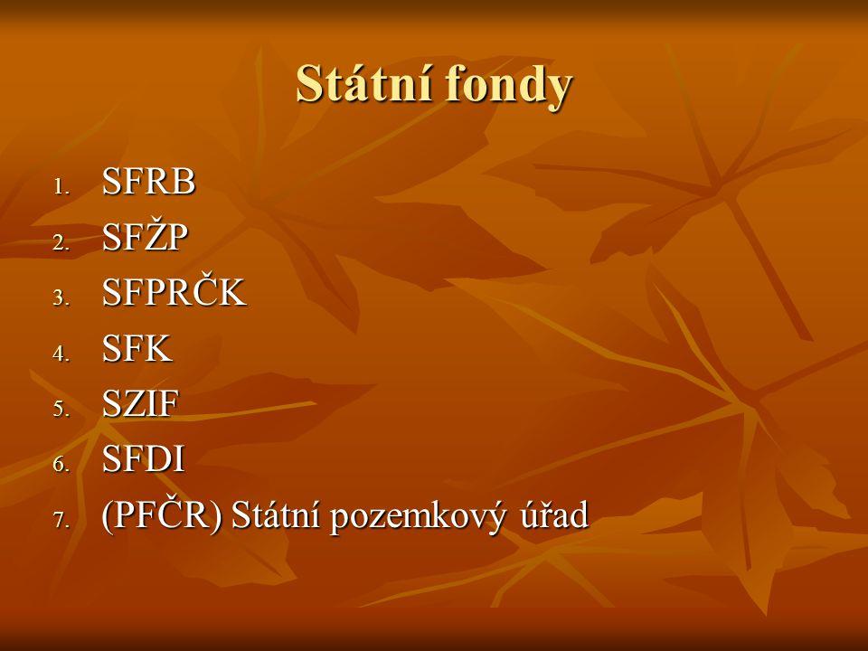 Státní fondy SFRB SFŽP SFPRČK SFK SZIF SFDI