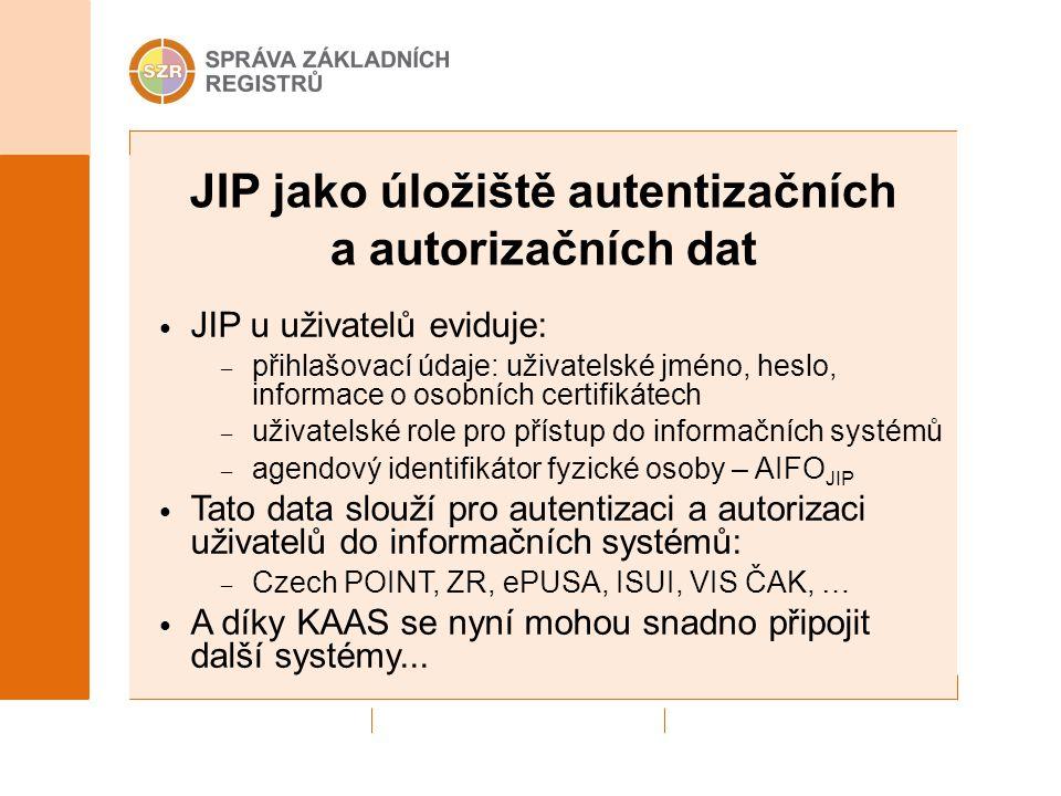 JIP jako úložiště autentizačních a autorizačních dat