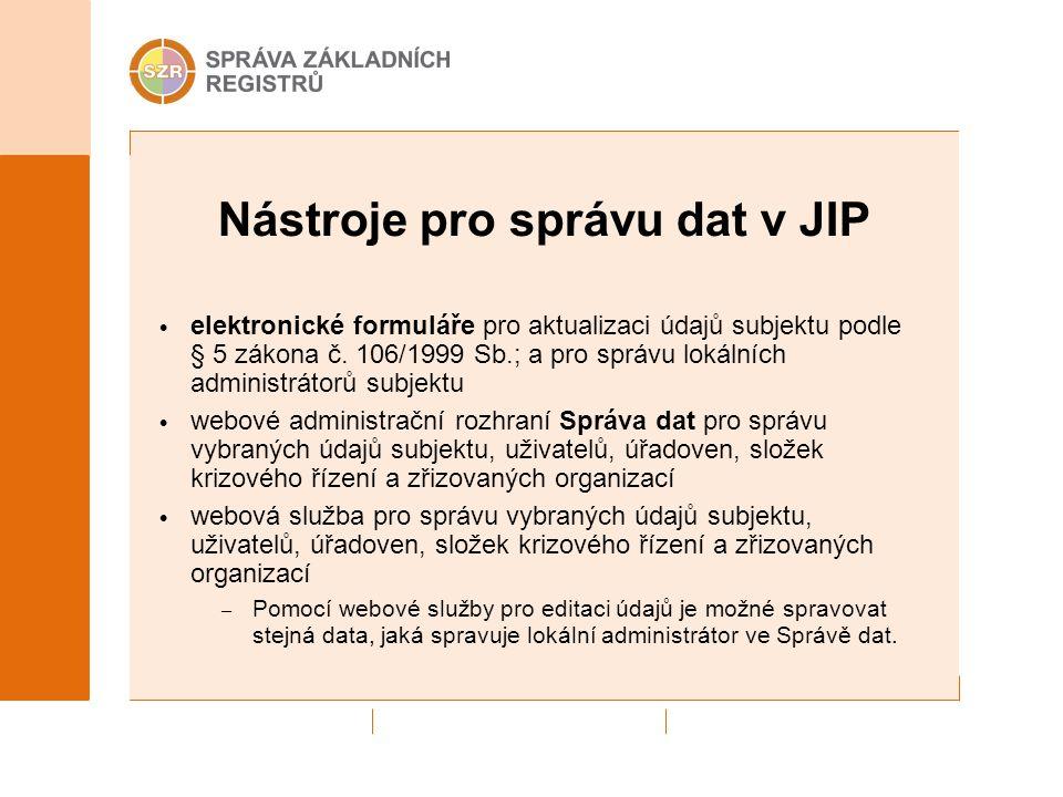 Nástroje pro správu dat v JIP