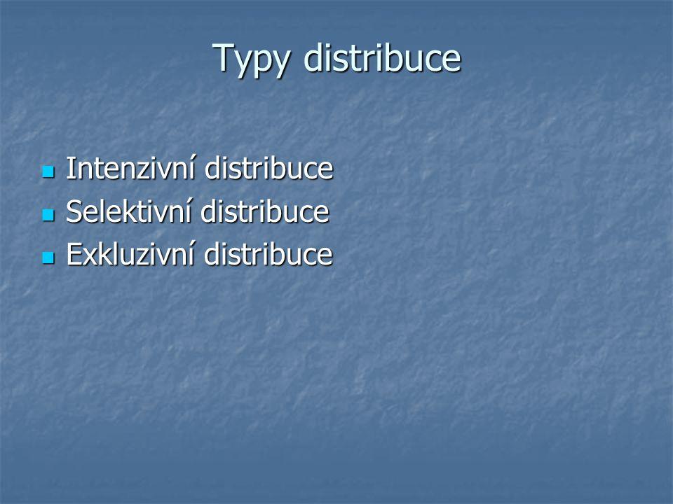 Typy distribuce Intenzivní distribuce Selektivní distribuce