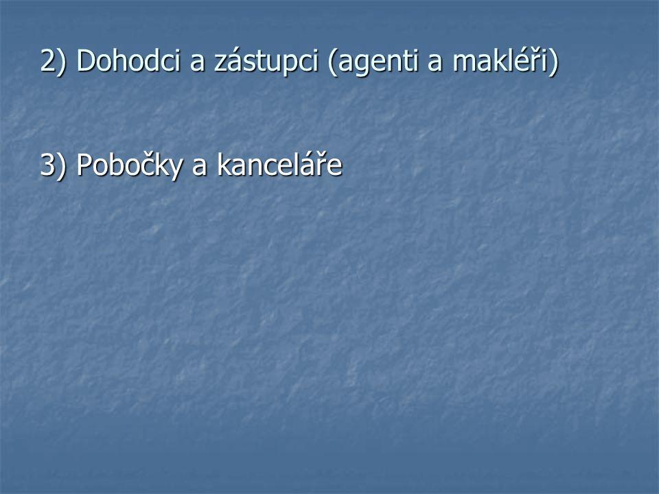 2) Dohodci a zástupci (agenti a makléři)