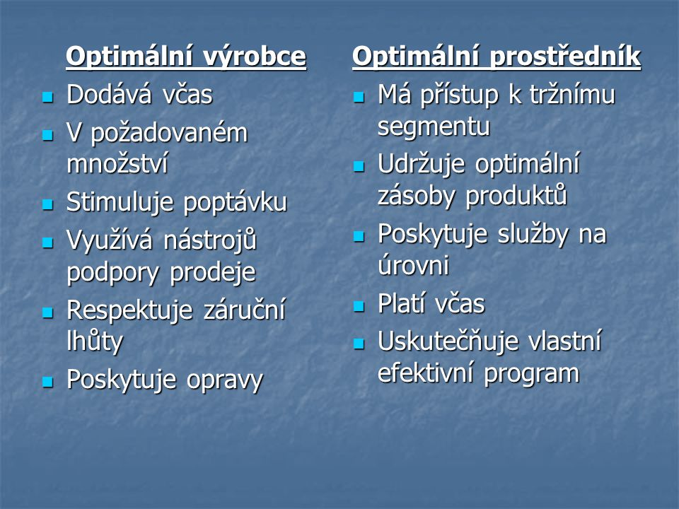 Optimální výrobce Dodává včas. V požadovaném množství. Stimuluje poptávku. Využívá nástrojů podpory prodeje.