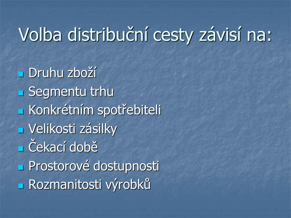 Volba distribuční cesty závisí na: