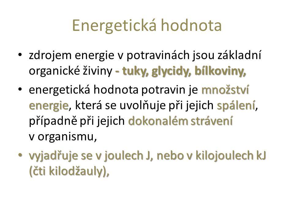 Energetická hodnota zdrojem energie v potravinách jsou základní organické živiny - tuky, glycidy, bílkoviny,