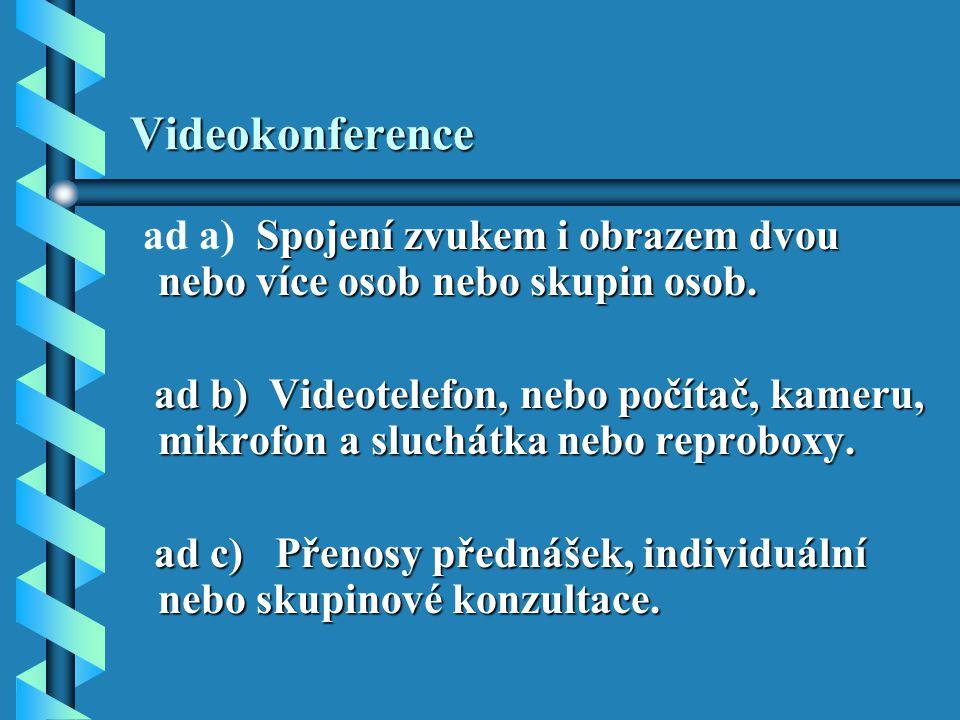 Videokonference ad a) Spojení zvukem i obrazem dvou nebo více osob nebo skupin osob.