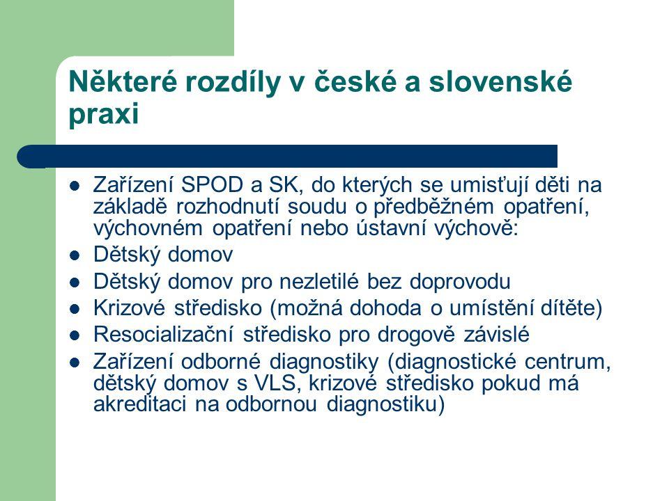 Některé rozdíly v české a slovenské praxi