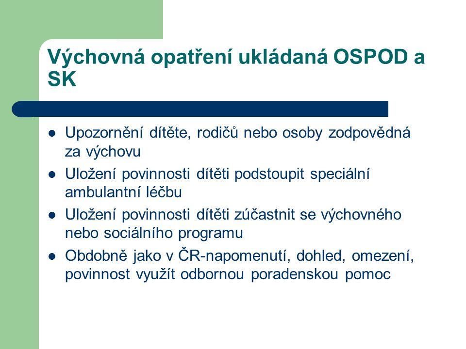 Výchovná opatření ukládaná OSPOD a SK