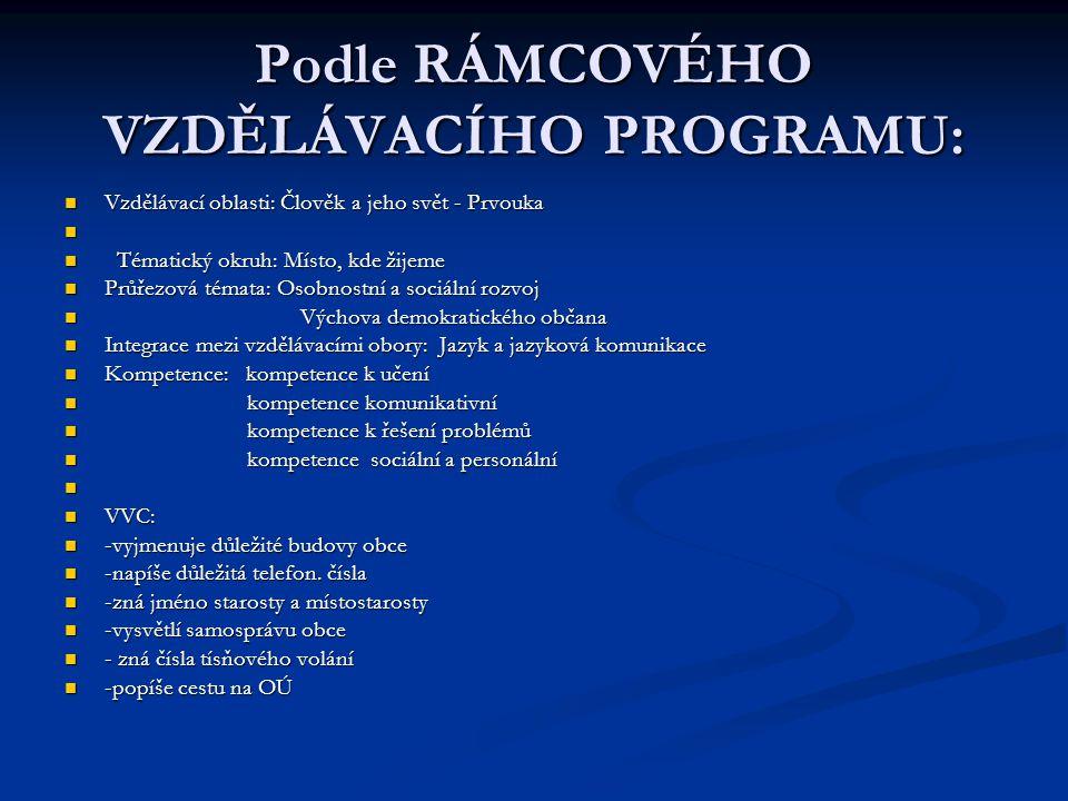Podle RÁMCOVÉHO VZDĚLÁVACÍHO PROGRAMU:
