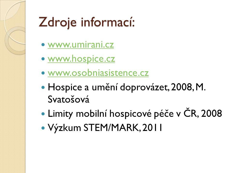 Zdroje informací: www.umirani.cz www.hospice.cz www.osobniasistence.cz