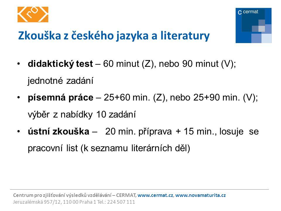 Zkouška z českého jazyka a literatury
