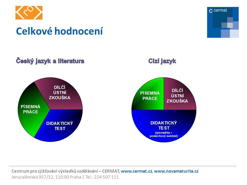 Celkové hodnocení Český jazyk a literatura Cizí jazyk