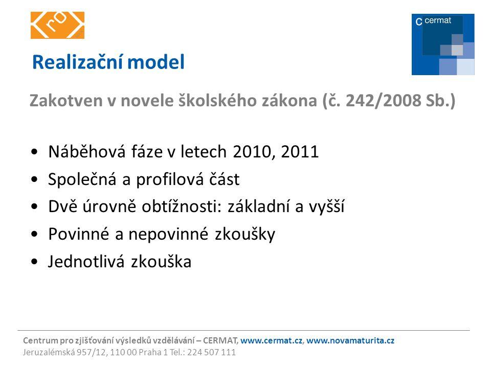 Realizační model Zakotven v novele školského zákona (č. 242/2008 Sb.)