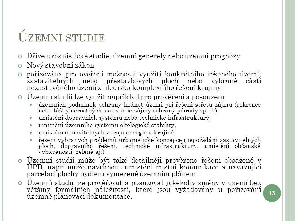 Územní studie Dříve urbanistické studie, územní generely nebo územní prognózy. Nový stavební zákon.