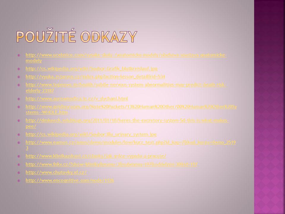 Použité odkazy http://www.ucebnice.com/vysoke-skoly-/anatomicke-modely/obehova-soustava-anatomicke- modely.