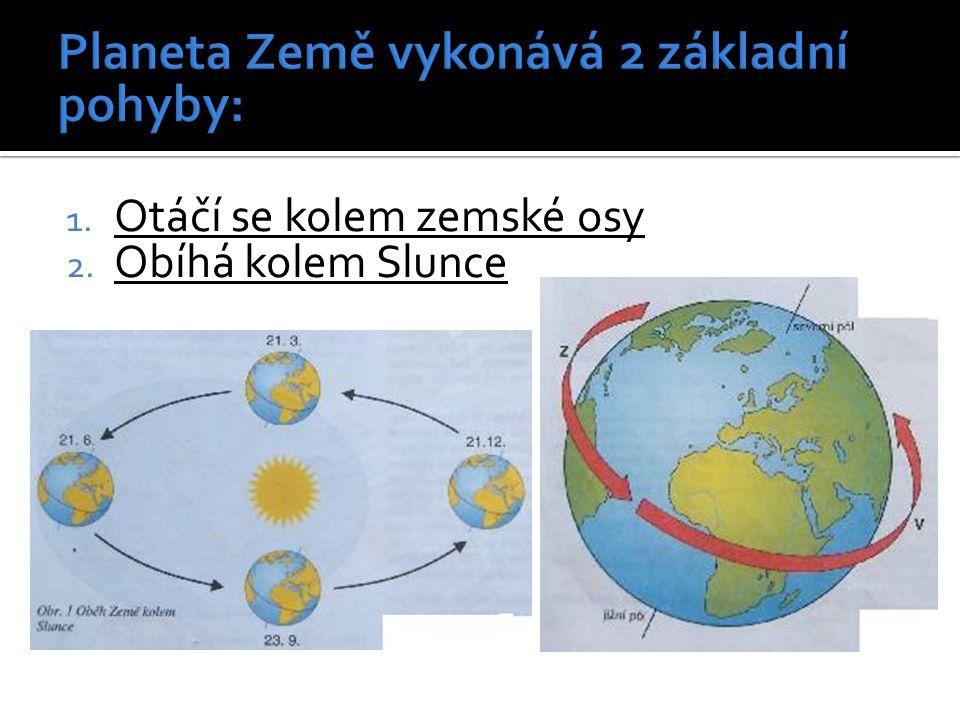 Planeta Země vykonává 2 základní pohyby: