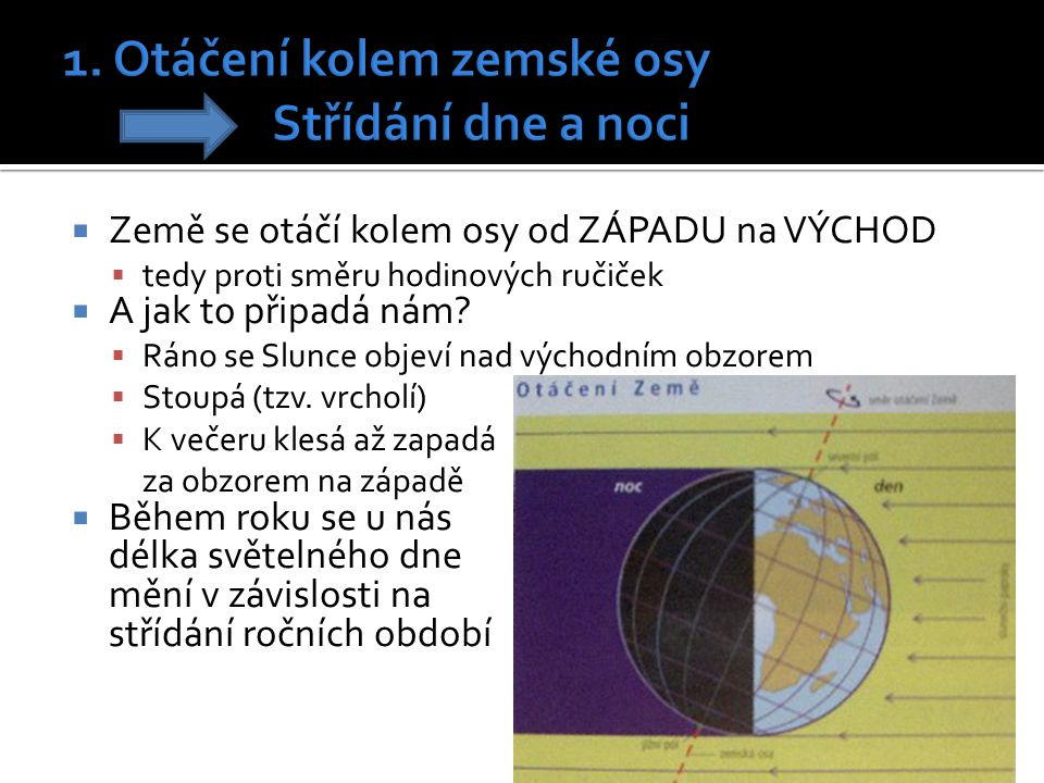 1. Otáčení kolem zemské osy Střídání dne a noci