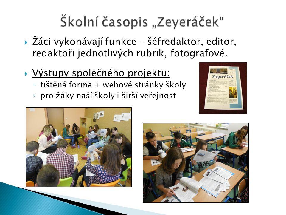 """Školní časopis """"Zeyeráček"""