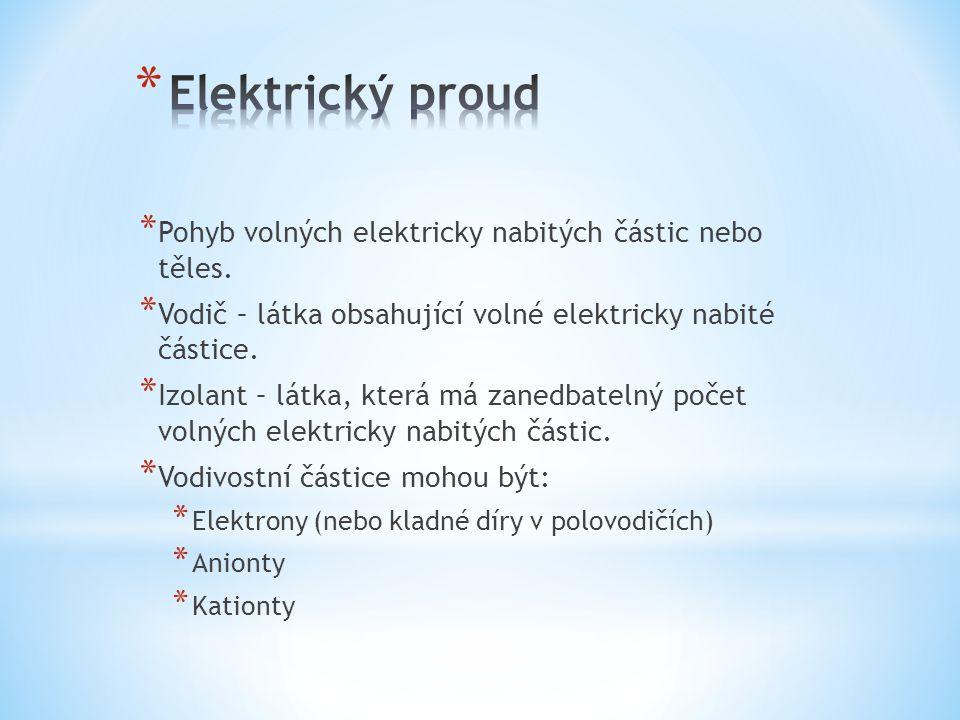 Elektrický proud Pohyb volných elektricky nabitých částic nebo těles.