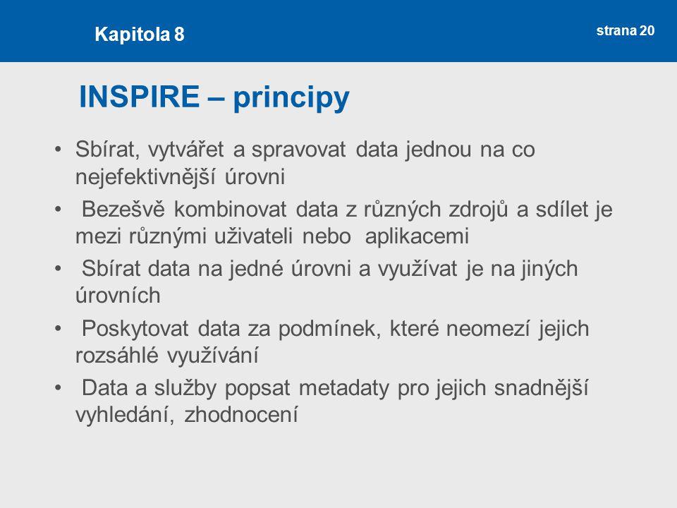 Kapitola 8 INSPIRE – principy. Sbírat, vytvářet a spravovat data jednou na co nejefektivnější úrovni.