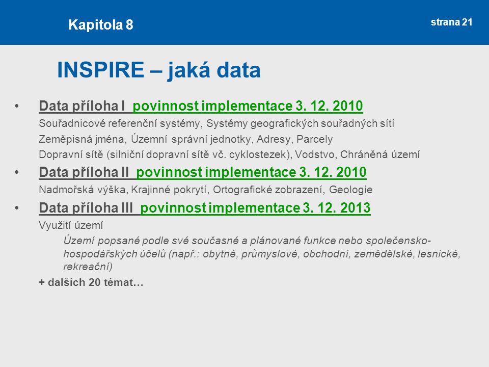 INSPIRE – jaká data Kapitola 8