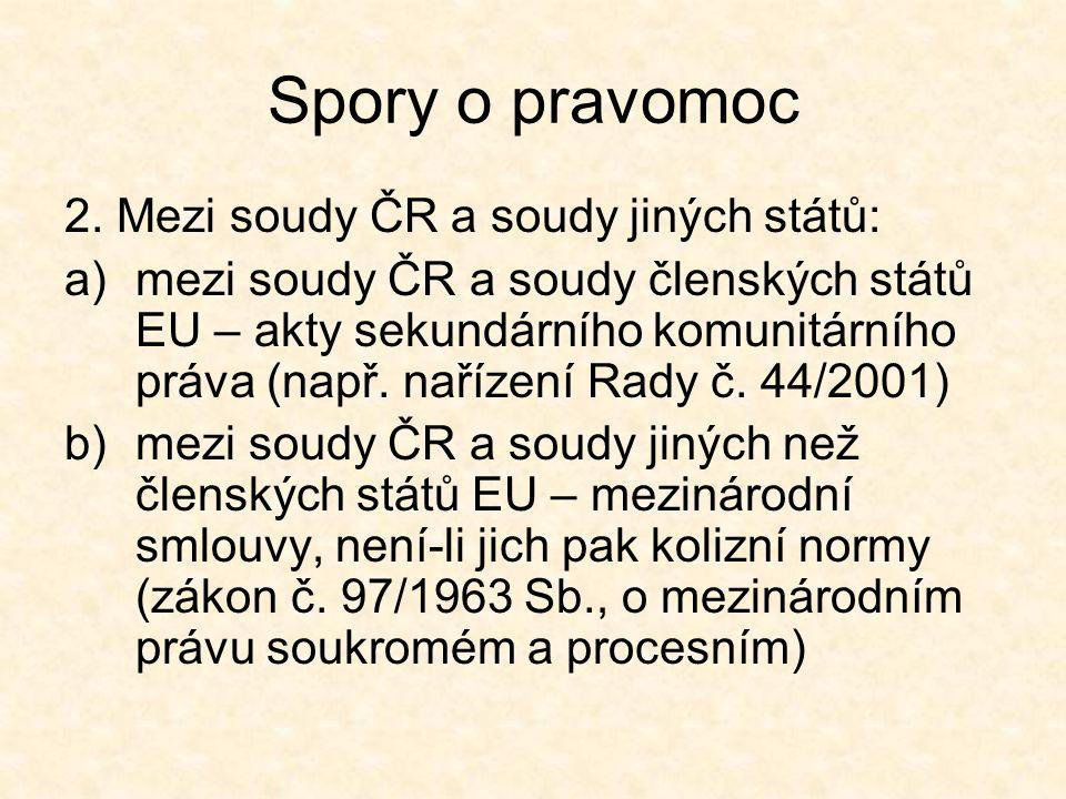 Spory o pravomoc 2. Mezi soudy ČR a soudy jiných států: