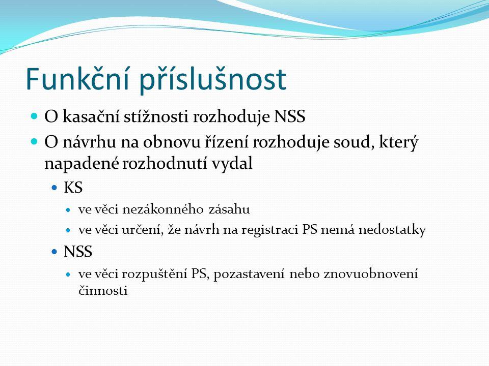 Funkční příslušnost O kasační stížnosti rozhoduje NSS
