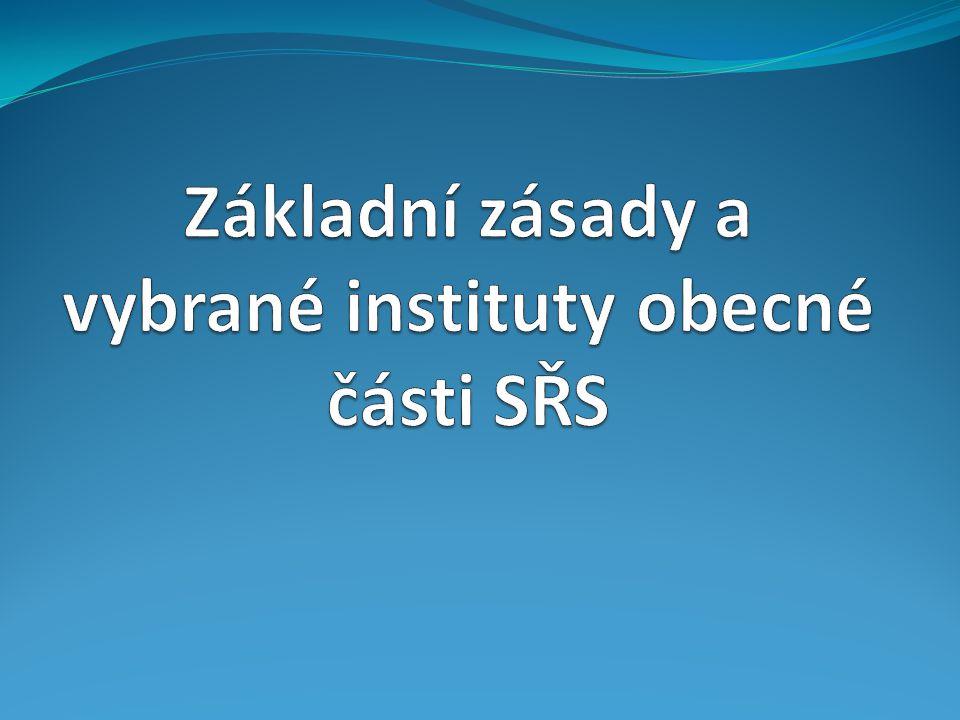 Základní zásady a vybrané instituty obecné části SŘS