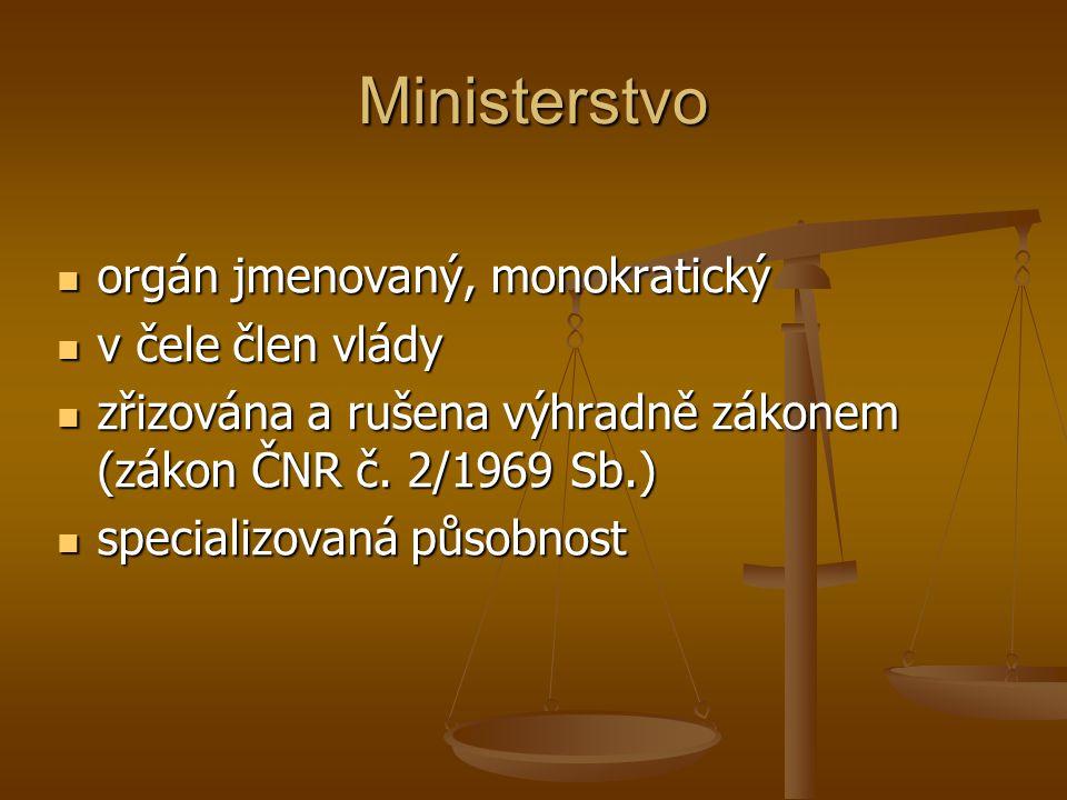 Ministerstvo orgán jmenovaný, monokratický v čele člen vlády