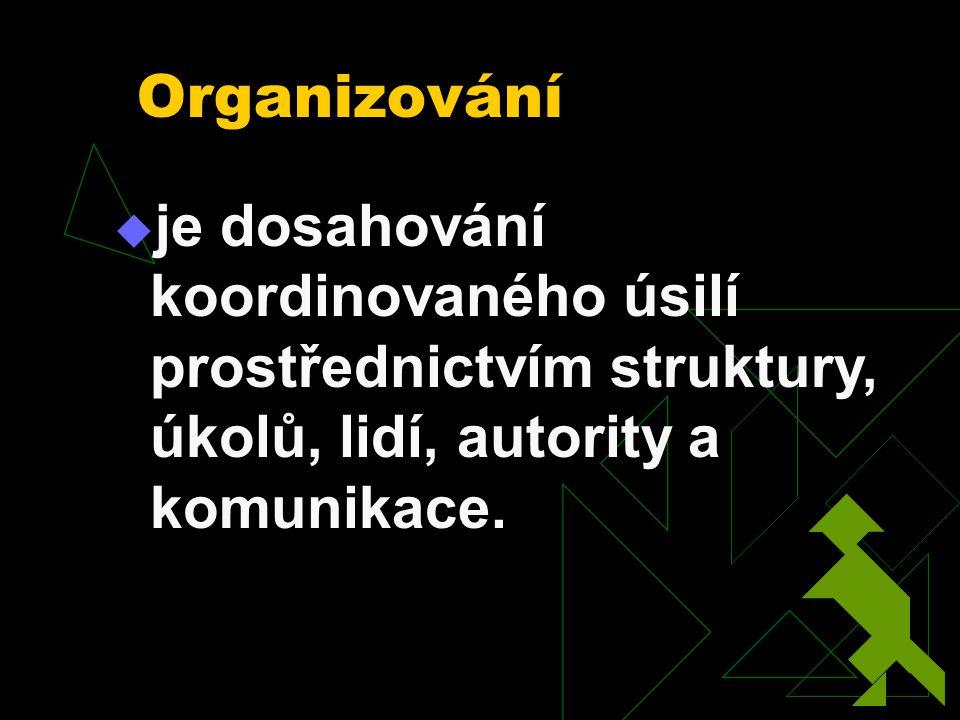 Organizování je dosahování koordinovaného úsilí prostřednictvím struktury, úkolů, lidí, autority a komunikace.