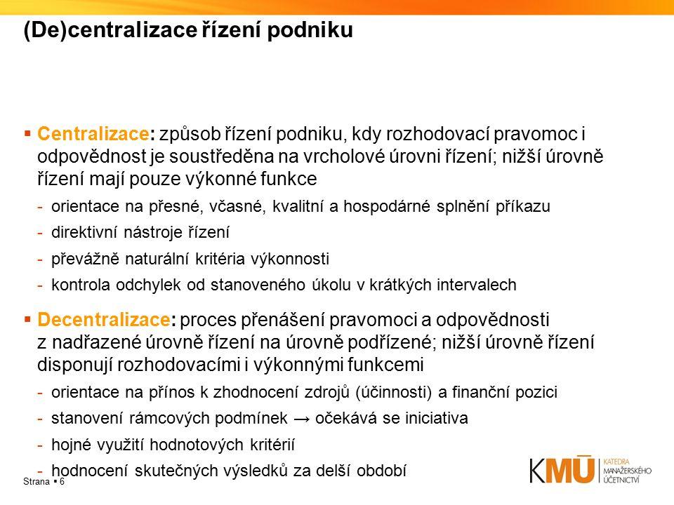 (De)centralizace řízení podniku