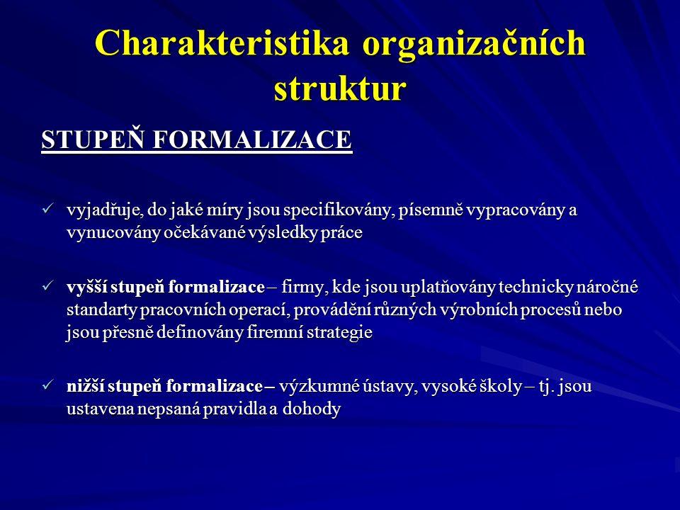 Charakteristika organizačních struktur