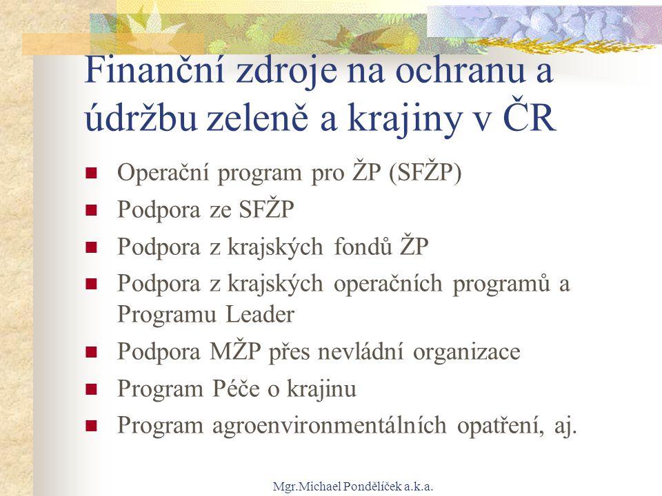 Finanční zdroje na ochranu a údržbu zeleně a krajiny v ČR