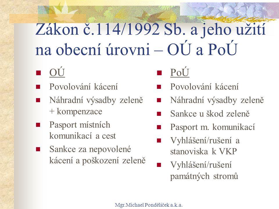 Zákon č.114/1992 Sb. a jeho užití na obecní úrovni – OÚ a PoÚ
