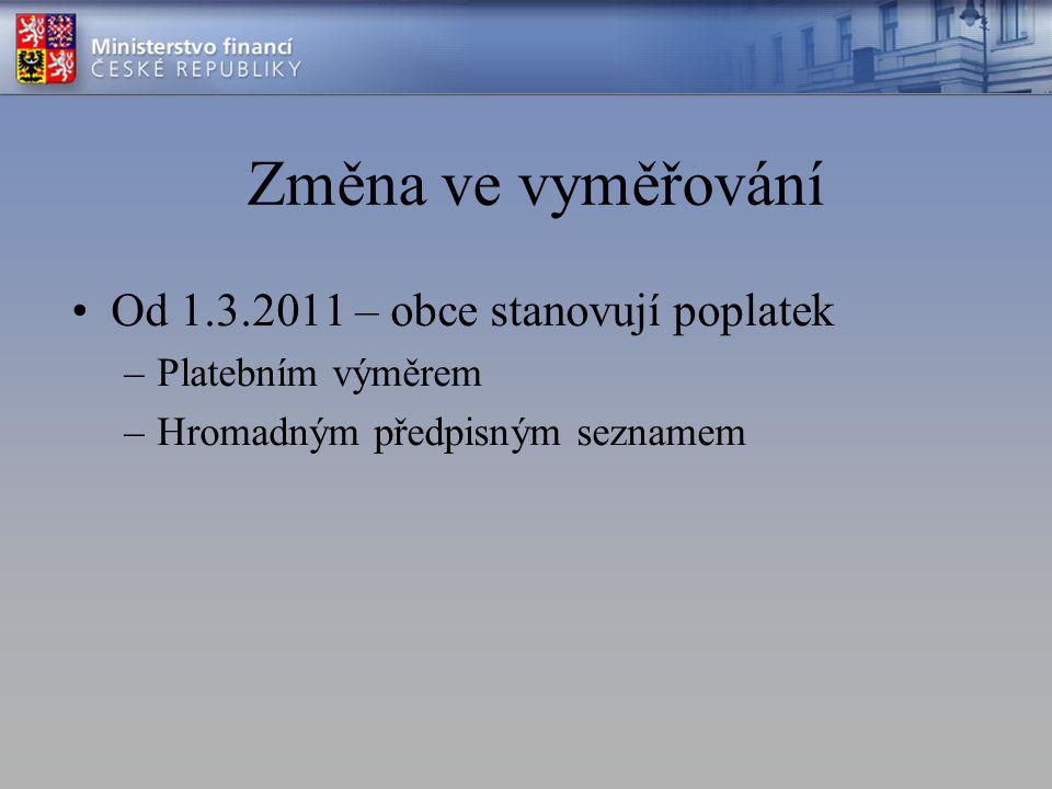 Změna ve vyměřování Od 1.3.2011 – obce stanovují poplatek