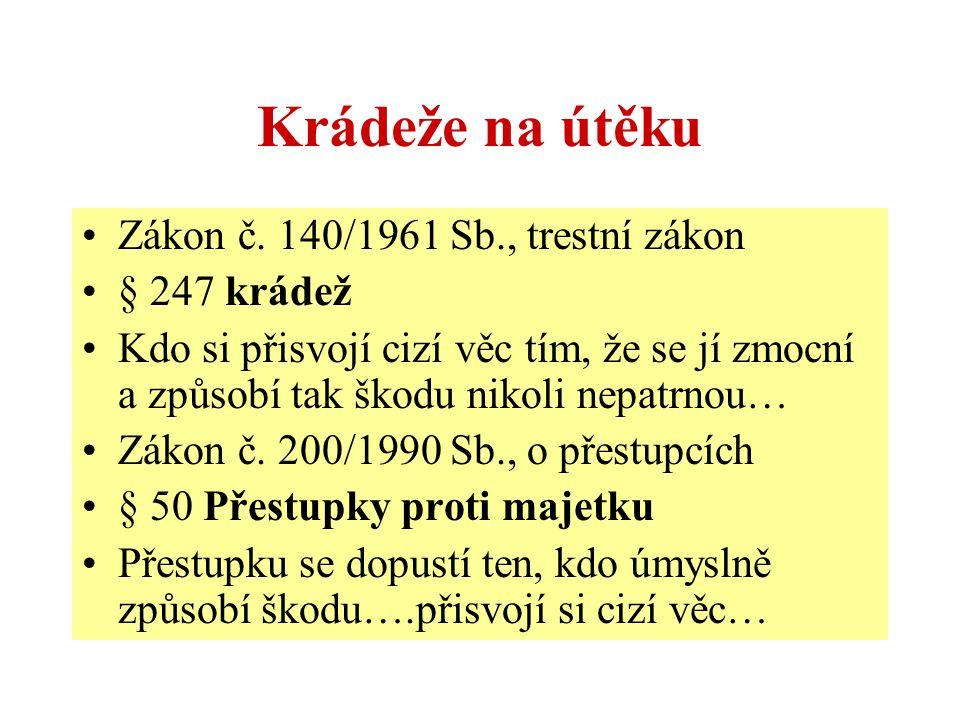 Krádeže na útěku Zákon č. 140/1961 Sb., trestní zákon § 247 krádež