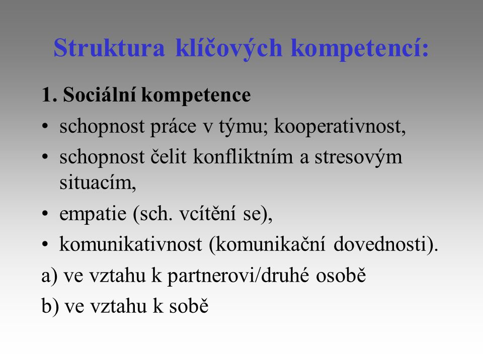 Struktura klíčových kompetencí: