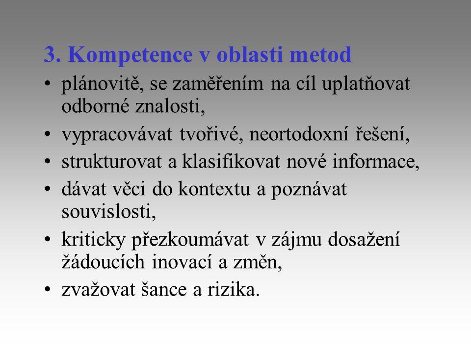 3. Kompetence v oblasti metod