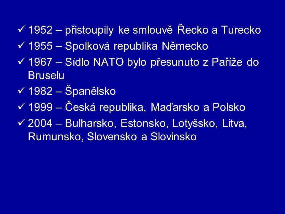 1952 – přistoupily ke smlouvě Řecko a Turecko