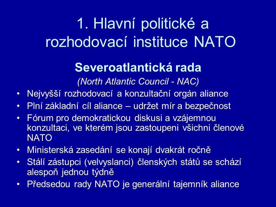 1. Hlavní politické a rozhodovací instituce NATO